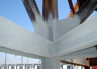 Ignifugación de estructuras metálicas y forjados en Perlita y vermiculita. Hospital de Leon (1)